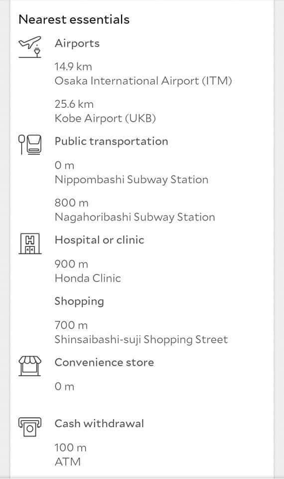 Sample Nearest Essentials Screenshot from Agoda for Travel Tips