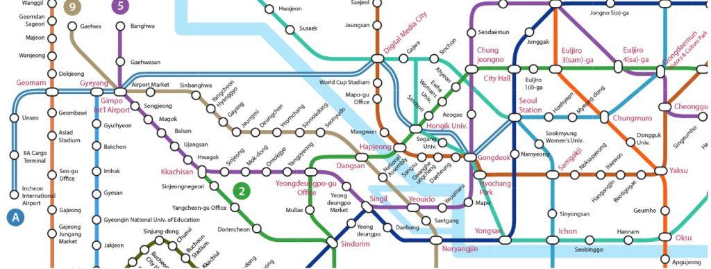 Seoul Train Map zoomed