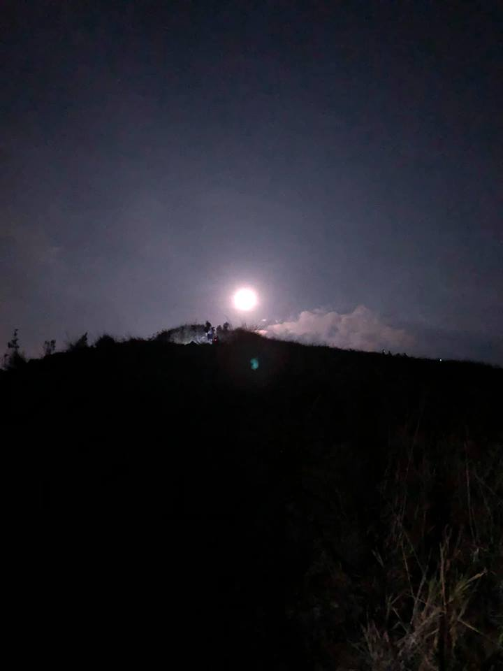 Panimahawa Ridge summit moonlight